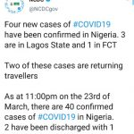 IN NIGERIA!! Panic as NCDC Confirms four new cases of Coronavirus, To make it 40